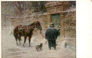 AK / Ansichtskarte Kuenstlerkarte Heinrich Winter Am Ziel Pferd Hund  Kat. Kuenstlerkarte