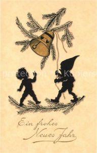 AK / Ansichtskarte Scherenschnitt Schattenbildkarte Kind Zwerg Glocke Neujahr  Kat. Besonderheiten