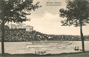 AK / Ansichtskarte Werder Havel Hotel Restaurant Bismarckhoehe Havel Dampfer Kuenstlerkarte Kat. Werder