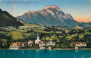 AK / Ansichtskarte Hergiswil Willisau mit Pilatus Ansicht vom Vierwaldstaettersee aus Kat. Hergiswil Willisau