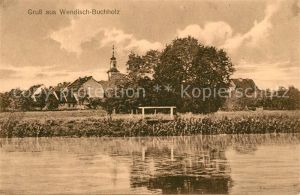 AK / Ansichtskarte Wendisch Buchholz Blick uebers Wasser zum Ort Kat. Maerkisch Buchholz Spreewald