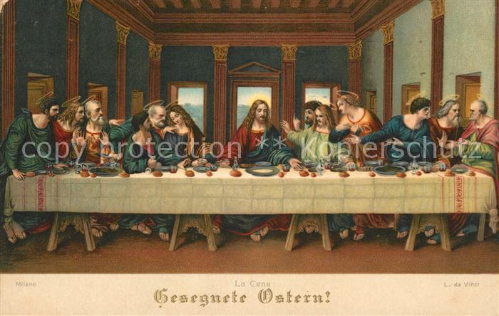AK / Ansichtskarte Leonardo Da Vinci La Cena Ostern Abendmahl Litho Kat. Persoenlichkeiten