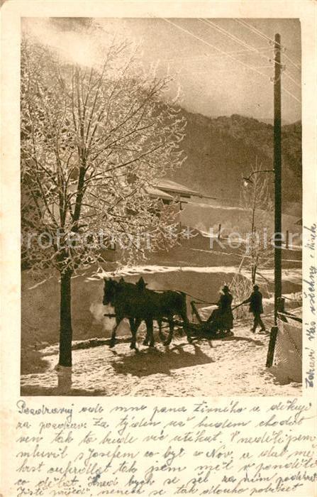 AK / Ansichtskarte Pferdeschlitten Tschechien