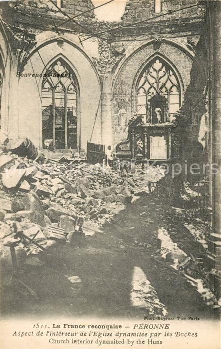 AK / Ansichtskarte Peronne Somme Interieur de l Eglise detruite Grande Guerre Kat. Peronne