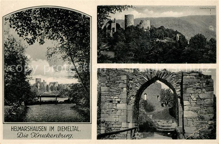 AK / Ansichtskarte Helmarshausen Kruckenburg Ruine Landschaftspanorama Diemeltal Kat. Bad Karlshafen