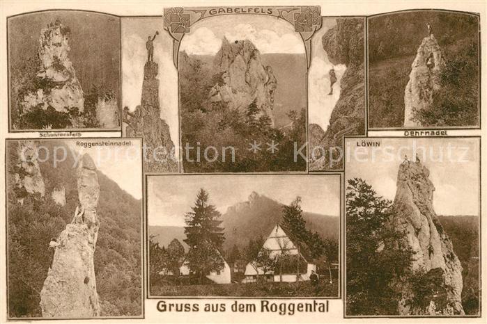 AK / Ansichtskarte Schwaebische Alb Roggental Schustersfels Gabelfels Oernadel Roggensteinnadel Loewin Kat. Heilbronn