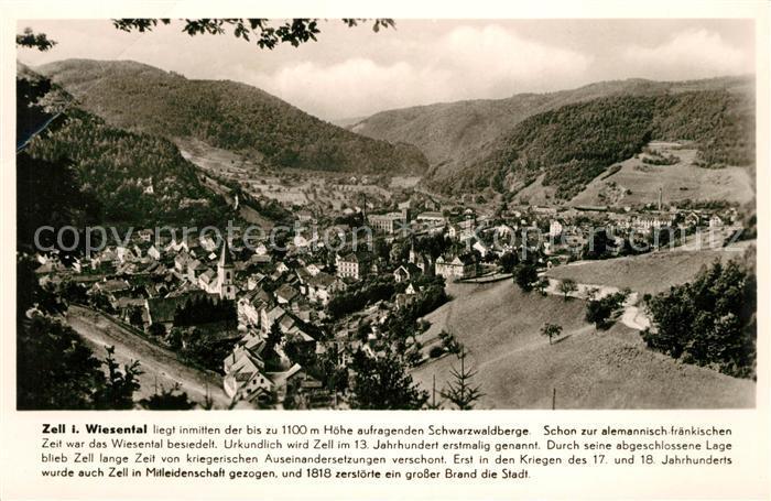 AK / Ansichtskarte Zell Wiesental Panorama Kat. Zell im Wiesental