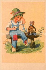 AK / Ansichtskarte Affen Kind Hut  Kat. Tiere