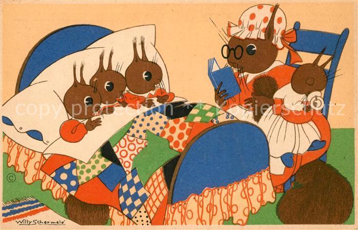 AK / Ansichtskarte Vermenschlicht Eichhoernchen Kuenstlerkarte Willy Schermele Eine Spannende Geschichte Kat. Kuenstlerkarte