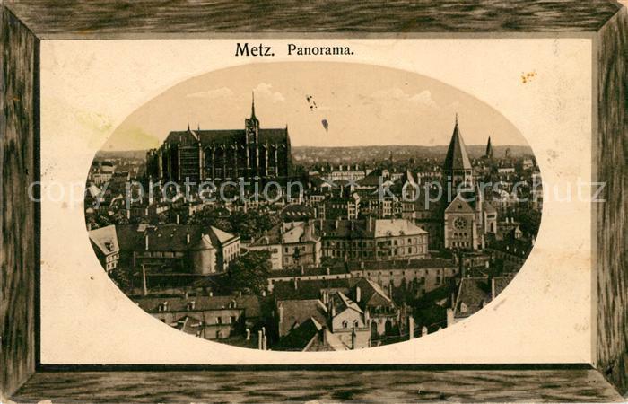 AK / Ansichtskarte Metz Moselle Stadtpanorama Kathedrale Bilderrahmen Kat. Metz