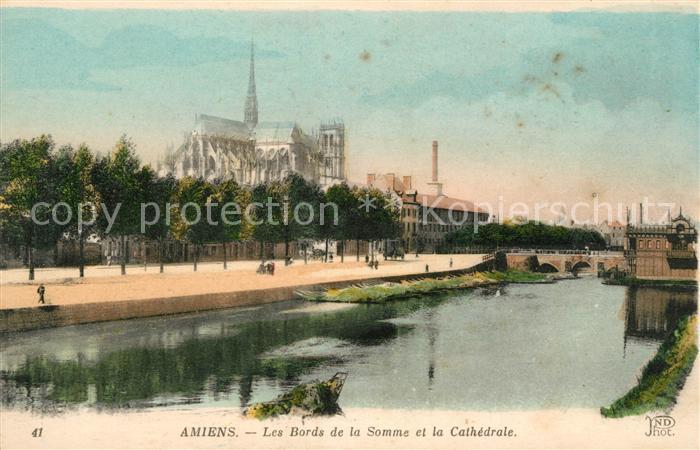 AK / Ansichtskarte Amiens Les Bords de la Somme et la Cathedrale Kat. Amiens