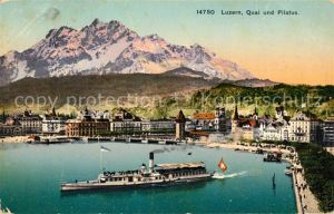AK / Ansichtskarte Luzern LU Quai mit Pilatus Kat. Luzern