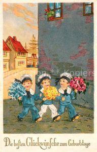 AK / Ansichtskarte Geburtstag Kinder Matrosen Blumen Litho  Kat. Greetings