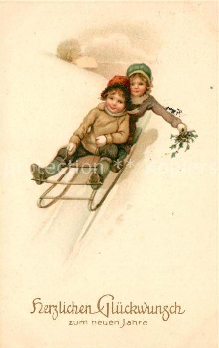 AK / Ansichtskarte Schlitten Schnee Kinder Neujahr  Kat. Sport