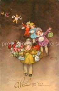 AK / Ansichtskarte Petersen Hannes Geburtstag Kinder Blumen Geschenke  Kat. Kuenstlerkarte
