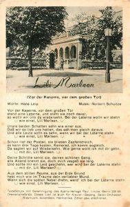 AK / Ansichtskarte Liederkarte Vor der Kaserne vor dem grossen Tor Lili Marleen  Kat. Musik