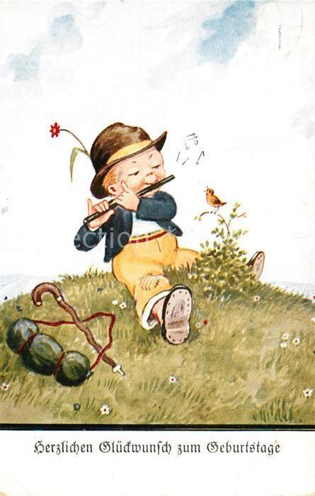 Ak Ansichtskarte Geburtstag Kind Vogel Querfloete Kat Greetings