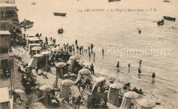 AK / Ansichtskarte Arcachon Gironde La Plage a Maree haute Kat. Arcachon