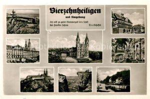AK / Ansichtskarte Vierzehnheiligen mit Banz Schlosshof Schloss Banz Basilika Staffelstein Inneres der Basilika Staffelberg Hausen mit Schloss Banz Kat. Bad Staffelstein