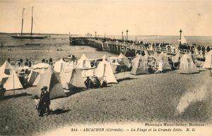 AK / Ansichtskarte Arcachon Gironde La Plage et la Grande Jetee Kat. Arcachon