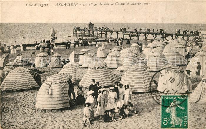 AK / Ansichtskarte Arcachon Gironde La Plage devant le Casino a Maree basse Kat. Arcachon