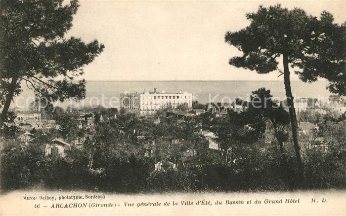 AK / Ansichtskarte Arcachon Gironde Vue generale de la Ville d'Ete du Bassin et du Grand Hotel Kat. Arcachon