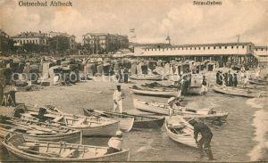 AK / Ansichtskarte Ahlbeck Ostseebad Strandleben Fischerboote Hotels Kat. Heringsdorf Insel Usedom