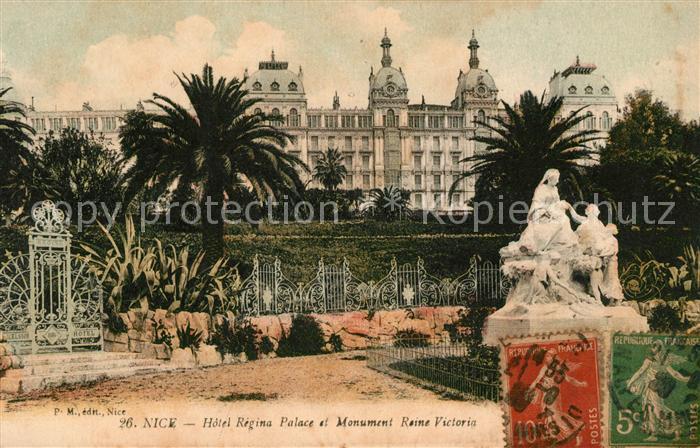 AK / Ansichtskarte Nice Alpes Maritimes Hotel Regina Palace et Monument Reine Victoria Kat. Nice