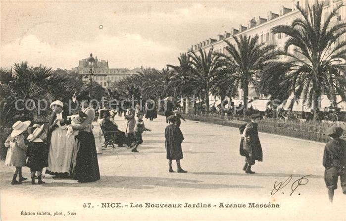 AK / Ansichtskarte Nice Alpes Maritimes Les Nouveaux Jardins Avenue Massena des palmiers Cote d Azur Kat. Nice