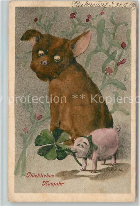 AK / Ansichtskarte Neujahr Hund Schwein Kleeblatt  Kat. Greetings