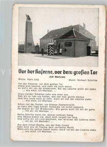 AK / Ansichtskarte Liederkarte Vor der Kaserne vor dem grossen Tor Kat. Musik