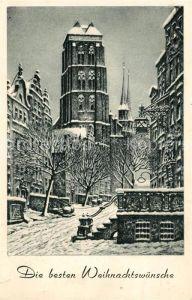 AK / Ansichtskarte Danzig Westpreussen St. Marien im Schnee Radierung von Paul Kreisel Kat. Gdansk