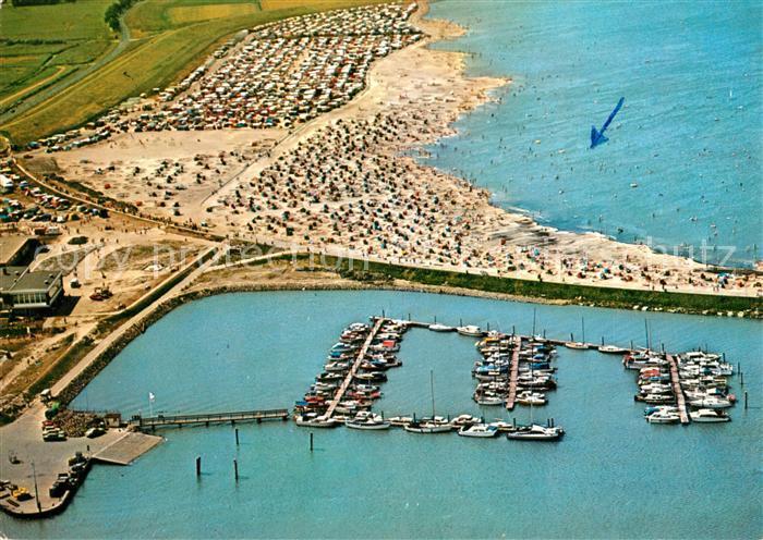 AK / Ansichtskarte Bensersiel Fliegeraufnahme Hafen Strand Kat. Esens