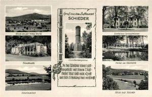 Schieder Schwalenberg Landschaftspanorama von Hohen Warte aus Trinkhalle Schwimmbad Schloss Springbrunnen Kurpark Kahlenbergturm Kat. Schieder Schwalenberg