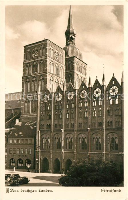 Stralsund Mecklenburg Vorpommern Motiv Rathaus Nicolaikirche Serie Aus deutschen landen Kat. Stralsund