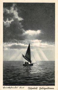 Heiligendamm Ostseebad Heimkehrendes Boot Segelboot Abendstimmung auf dem Meer Kat. Bad Doberan