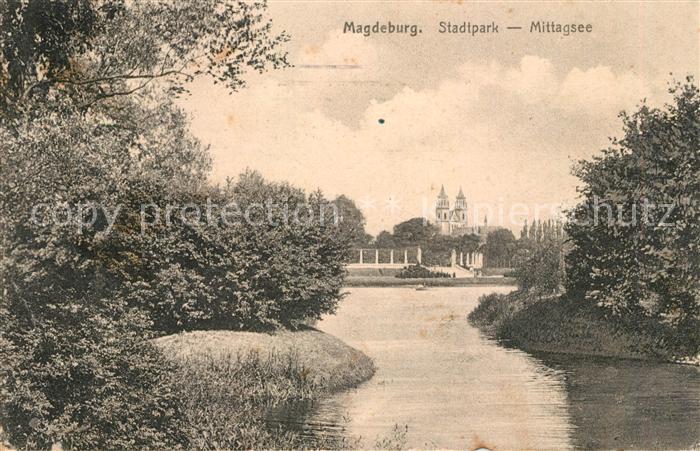 Magdeburg Stadtpark Mittagsee Kat. Magdeburg