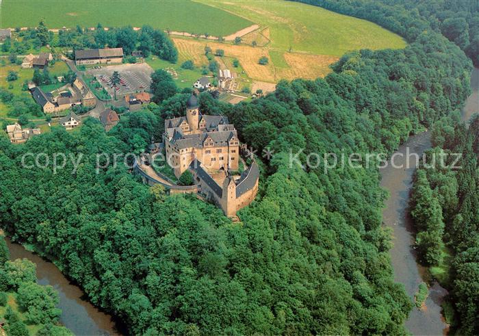 AK / Ansichtskarte Rochsburg Fliegeraufnahme Schloss mit Zwickauer Mulde  Kat. Lunzenau