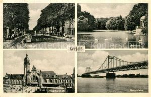AK / Ansichtskarte Krefeld Ostwall Stadtwald Teich Hauptbahnhof Rheinbruecke Kat. Krefeld