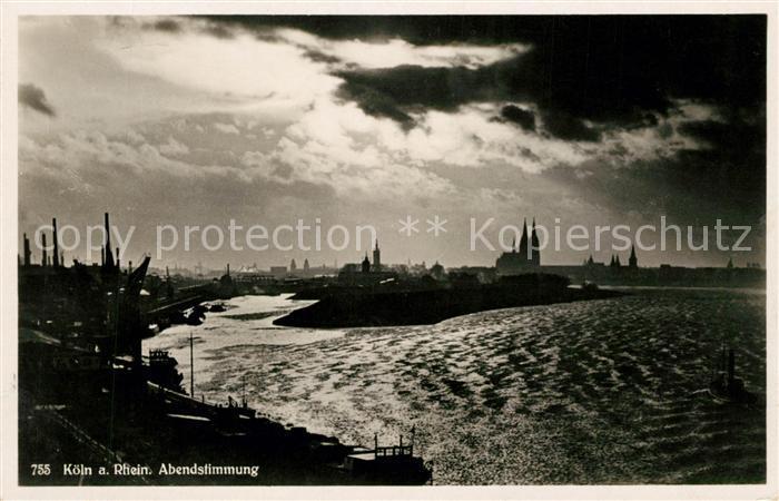 AK / Ansichtskarte Koeln Rhein Abendstimmung Kat. Koeln