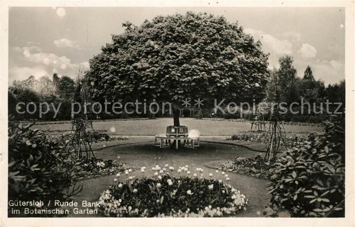 AK / Ansichtskarte Guetersloh Runde Bank im Botanischen Garten Kat. Guetersloh