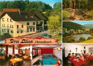 AK / Ansichtskarte Hesselbach Odenwald Gasthaus Pension Drei Lilien Hallenbad Kat. Hesseneck