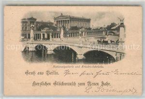 AK / Ansichtskarte Berlin Nationalgallerie und Friedrichsbruecke ueber die Spree Deutsche Reichspost Kat. Berlin