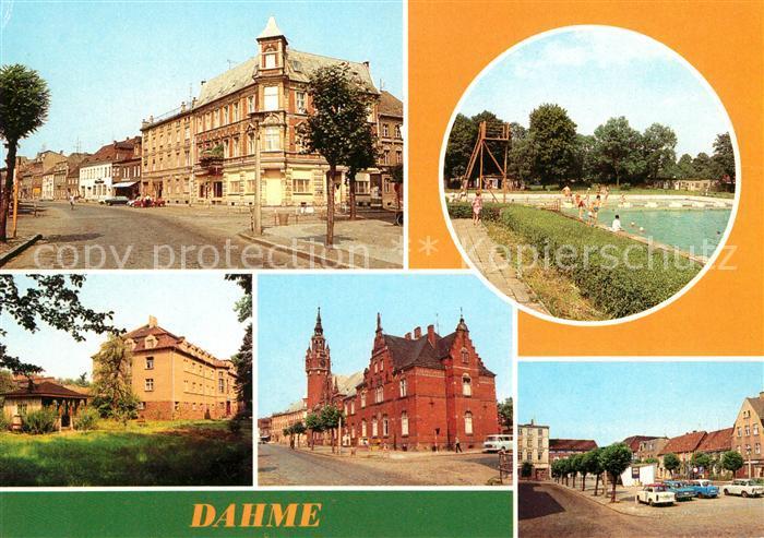 AK / Ansichtskarte Dahme Mark Wilhelm Pieck Strasse Freibad Krankenhaus Postamt Ernst Thaelmann Platz Kat. Dahme Mark