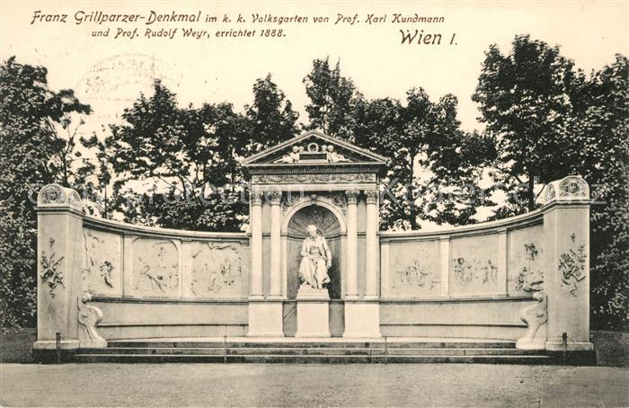 AK / Ansichtskarte Wien Franz Grillparzer Denkmal im kk Volksgarten Kat. Wien