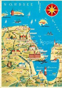 AK / Ansichtskarte Jade Jadebusen Nordsee Lageplan Kat. Jade