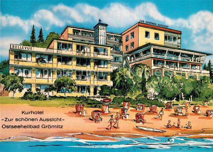 Ak Ansichtskarte Groemitz Ostseebad Kurhotel Zur Schoenen Aussicht Bellevue Lift Kat Groemitz