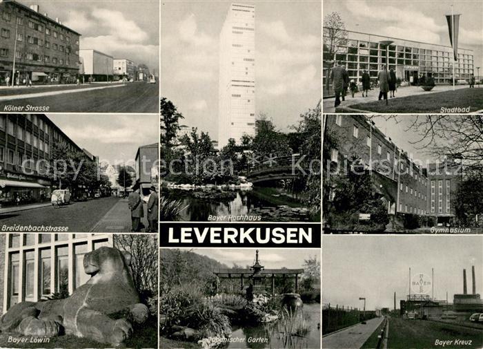 AK / Ansichtskarte Leverkusen Koelner Strasse Stadtbad Gymnasium Bayer Loewin Bayer Kreuz Kat. Leverkusen