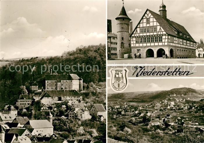 AK / Ansichtskarte Niederstetten Wuerttemberg Teilansicht mit Schloss Fachwerkhaus Turm Landschaftspanorama Bromsilber Kat. Niederstetten