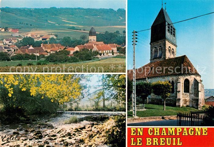 AK / Ansichtskarte Le Breuil Marne Vue generale du village et le vignoble Le Surmelin Eglise Kat. Le Breuil